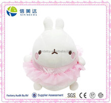Plush Cute Chubby Rabbit in Ballerina Skirt Clothing Costume Stuffed Toy