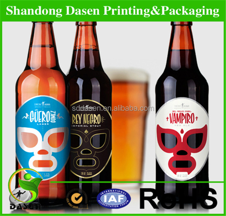 Custom LOGO embossed metalized paper beer label