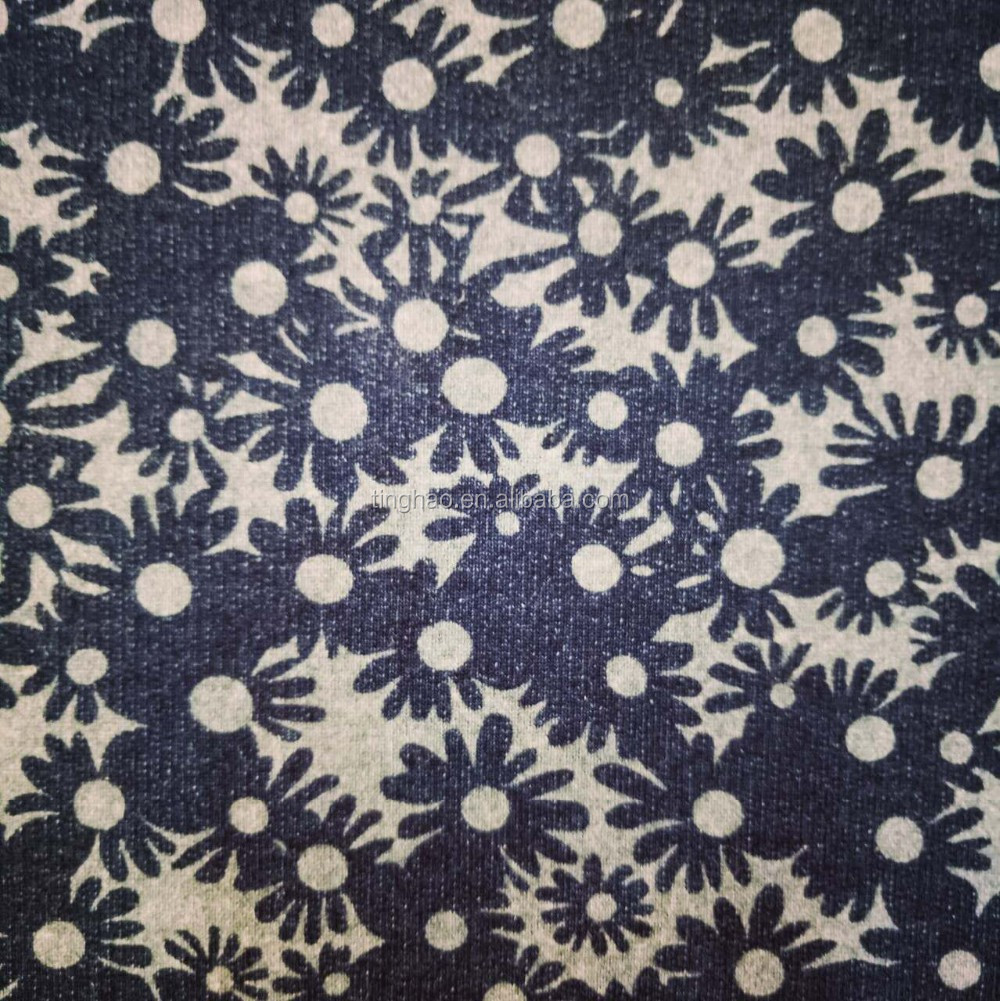 Most popular knitting denim fabric with daisy pattern