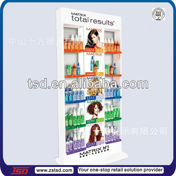 TSD-W382 Custom floor standing white wooden hair salon display stand ,hair care display fixture,salon display cabinet