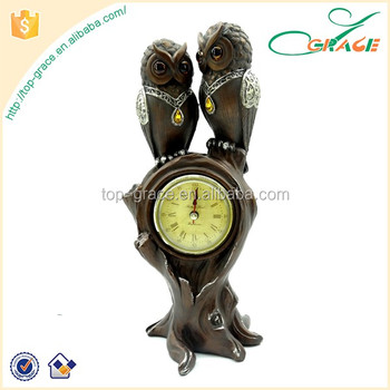 2016 Home decor polyresin owls decorative table clock