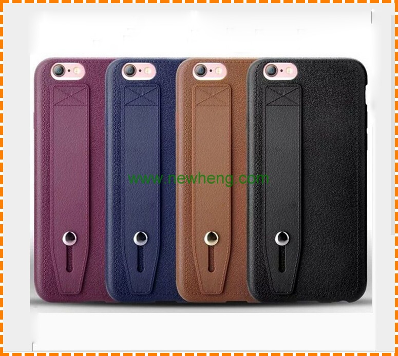 Retro Litchi grain hand hold belt flip leather phone case for iphone 7 plus