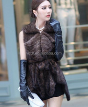 Y.ROGUSA Brand YR027 Real Knitted Mink Fur Vest Black Brown Winter Mink Fur Waistcoat with Belt