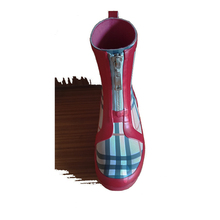ladies ankle plaid rain boots check wellington boots ankle rainboots with zipper