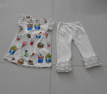 New Arrival Wholesale Cotton Printed Baby Kid Clothing Sets Fashion Summer Girls Boutique Outfit