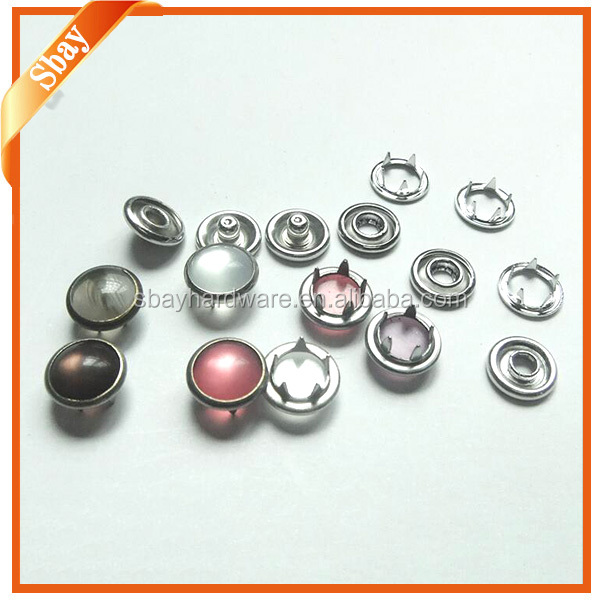 Various colours of cap prong ring snap button fastener