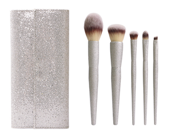 Pearlescent silver soft synthetic hair aluminum tube taper shank makeup brush set with PU bag