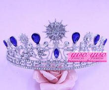beautiful luxurious crystal silver blue large crystal stone pageant tiara