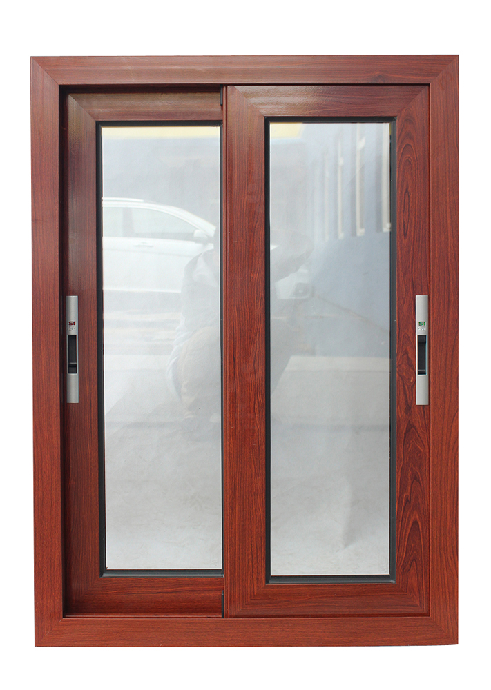 Australia AS2047 standard commercial double glass aluminum sliding latest design wooden color doors