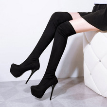 SAA2303 Sexy platform 14cm high stiletto heel suede ladies thigh boots