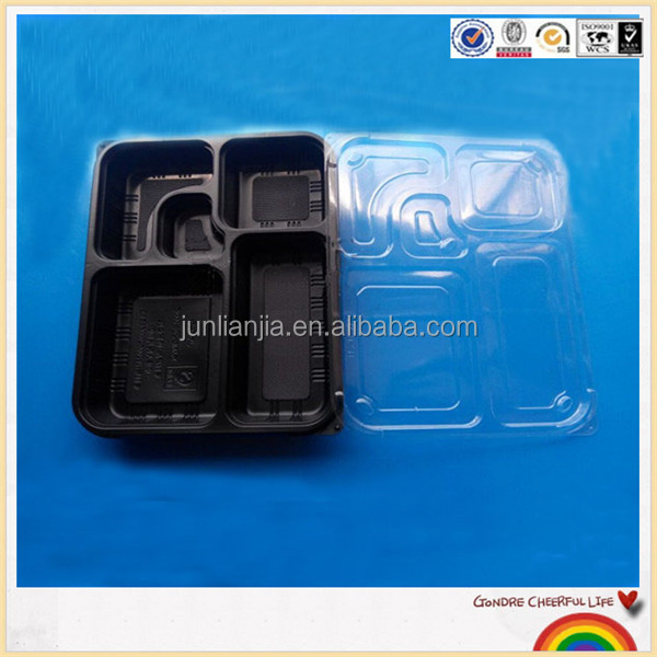 Microwave safe 5 compartment plastic disposable bento box