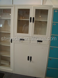 glass and steel cabinet 4 doors /wall mounted metal hospital storage cabinets half glass doors