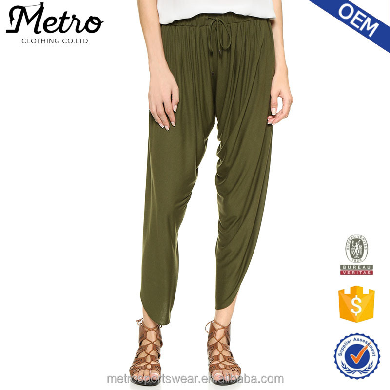 Women olive relaxed legs slit drawstring Hippie Draped Jersey Harem Pants