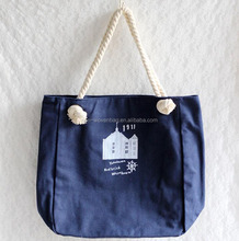 Top quality strong cotton cloth fabric bag large size blue color cotton canvas tote bag rope handle