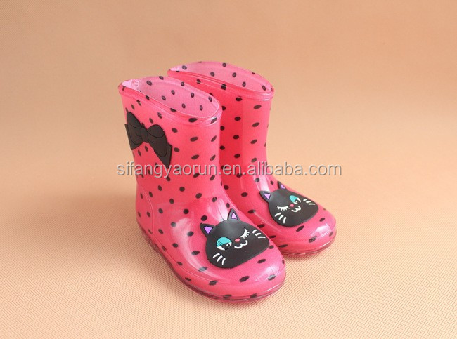 kids children boys girls cartoon print rubber wellies Environmentally-friendly rain boots