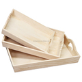 Wholesale 100% handmake FSC hotel wooden tray with handle