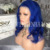Pre plucked 16Inch Brazilian Human Hair Lace Front Blue Wig In Stock