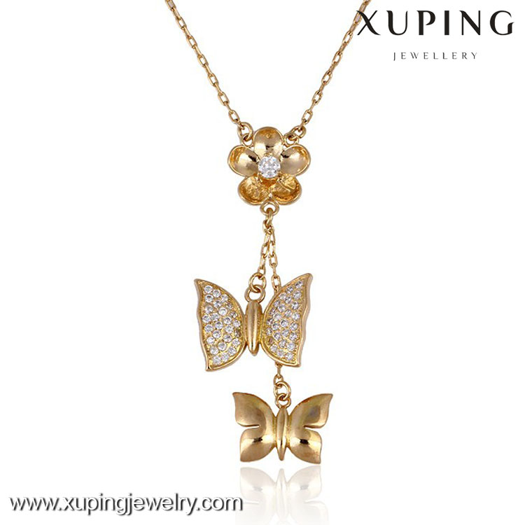 Factory wholesale price women fashion gold butterfly necklace designs