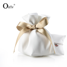 High End Custom Leatherette Gift Bag with Ribbon and Pillow for Bracelet Bangle Jewelry Packaging White Leather Watch Pouch