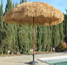 Hawaii straw thatch tassels beach umbrella