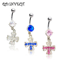 Colorful Christian Cross Crystal Navel Belly Ring Body Piercing Jewelry