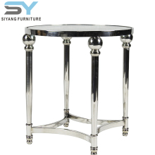 2018 home furniture metal marble top silver side table JJ008