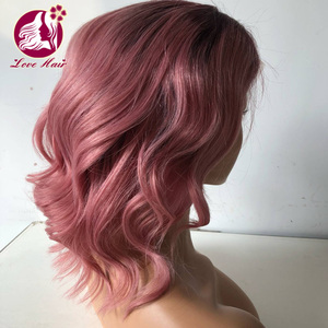 Cheaper price love hair brand european raw virgin hair ombre light pink color lace front wig for beautiful women