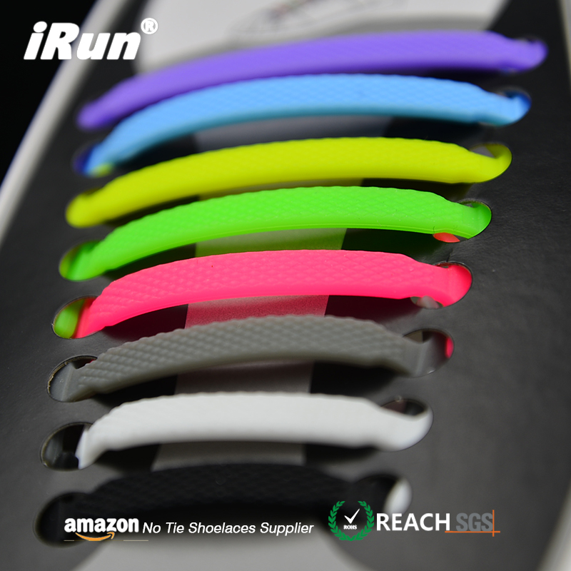iRun Colored Not Pop Out No Tie Shoe Laces Silicone Lock Shoelaces No Tie Shoelace Method