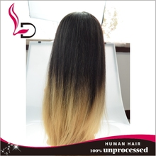 8a virgin brazilian hair top quality Wholesale brazilian remy human hair silk straight two tone ombre small cap full lace wig