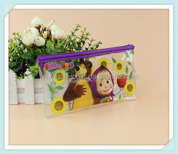 nice cartoon design plastic pvc zipper pen bag