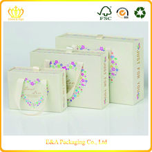 Custom fancy logo printing drawer gift boxes with handles/wedding product packaging boxes
