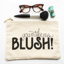 Private label customized 100% cotton canvas professional makeup bag