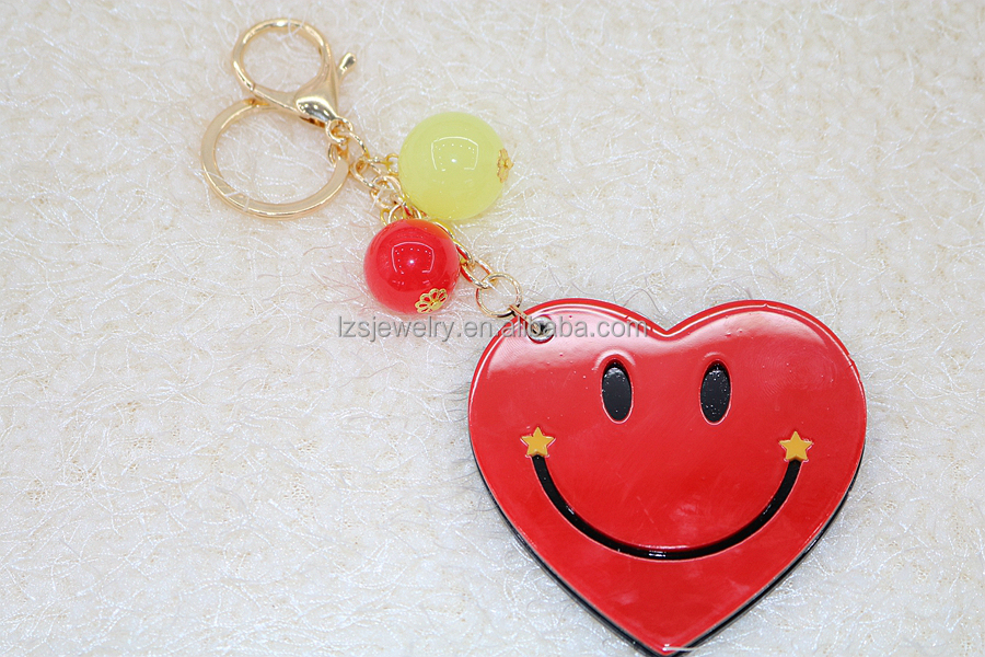 Smiling Love Heart Shaped Resin Mirrors Keychain Double Used Keychain Make-up Mirror