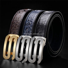 Heyco exotic animal bone skin crocodile leather custom S logo buckle men belt