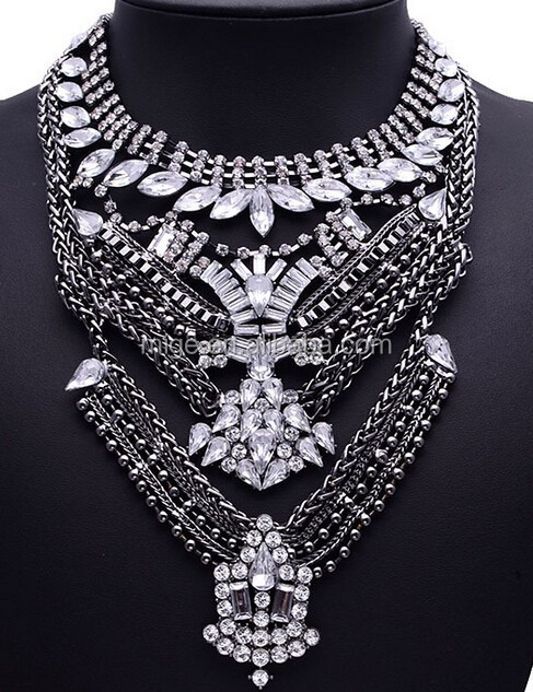 2015 fashion popular big statement multilayer chain pendant necklace weight plate necklace N2630
