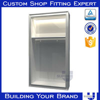white wooden MDF garment display cabinet