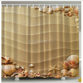 Beige Seashells Extra Long Polyester Fabric Shower Curtain