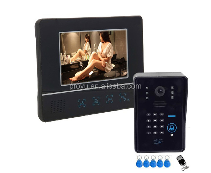 "Hot selling 7"" 4-wire color apartment video door phone intercom system with remote control and ID cards PY-811MJIDS11"