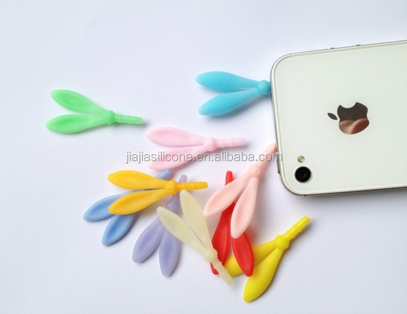 cute rabbit ears mobile phone dustproof plug/ good sealling silicone anti dust plug