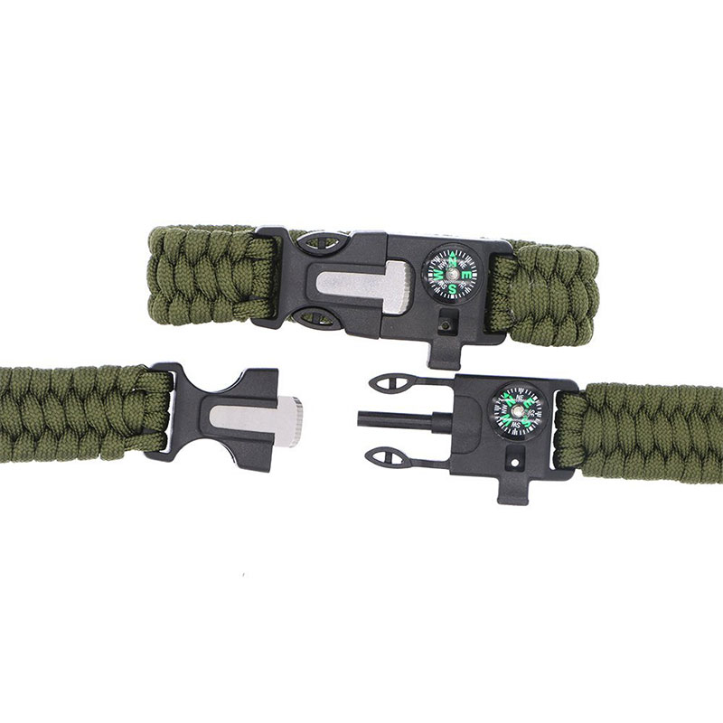 Best Selling Items Outdoor Survival Multi-purpose 5 In 1 Paracord Bracelet with Flint Fire Starter Compass
