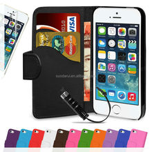 For Apple 5 for iPhone 5S Card Slots PU Leather Wallet Cover Flip Case