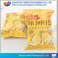 customized heat seal plastic packaging bag for banana chips /snacks