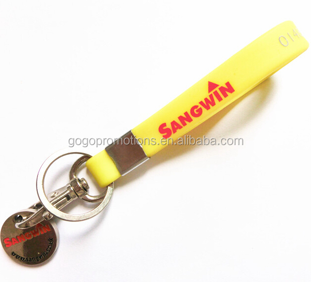 Promotional Imprinted Silicone Key Chain Bracelet Siicone Key Tag,Custom design silicon key holder, your logo on the keyching