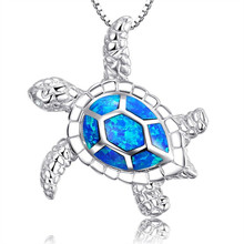 Fashion Blue Imitati Opal Sea Turtle Pendant <strong>Necklace</strong> for Women Female Animal Wedding Ocean Beach Jewelry