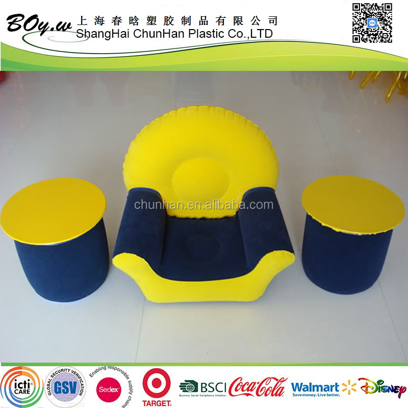 Wholesales factory OEM children sofa chair & teapoy pvc flocked inflatable kids sofa set