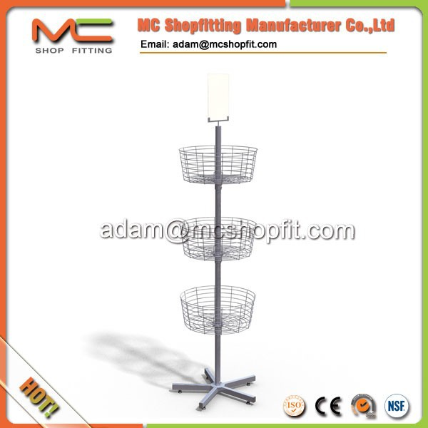Supermarket promotion wire mesh metal display stand