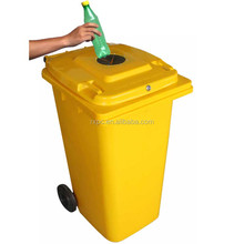 plastic wheelie bin 240 lt with lock and rubber stopper for recycling bottle, glass cans, metal waste, paper etc.