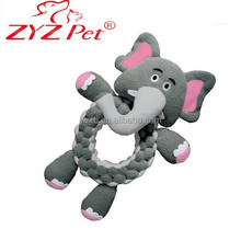 Wholesale plush elephant shape pet toy soft squeaky pet toy for dogs