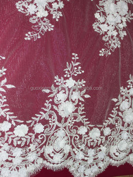 2015 fashion french lace with applique/flower for garment/dress