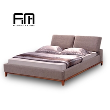 2017 low price cheap solid wood frame simple style fabric soft bed